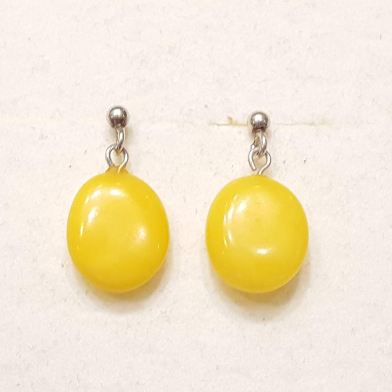 Borostyánköves ezüst fülbevaló sárga opak  Jubilex 391