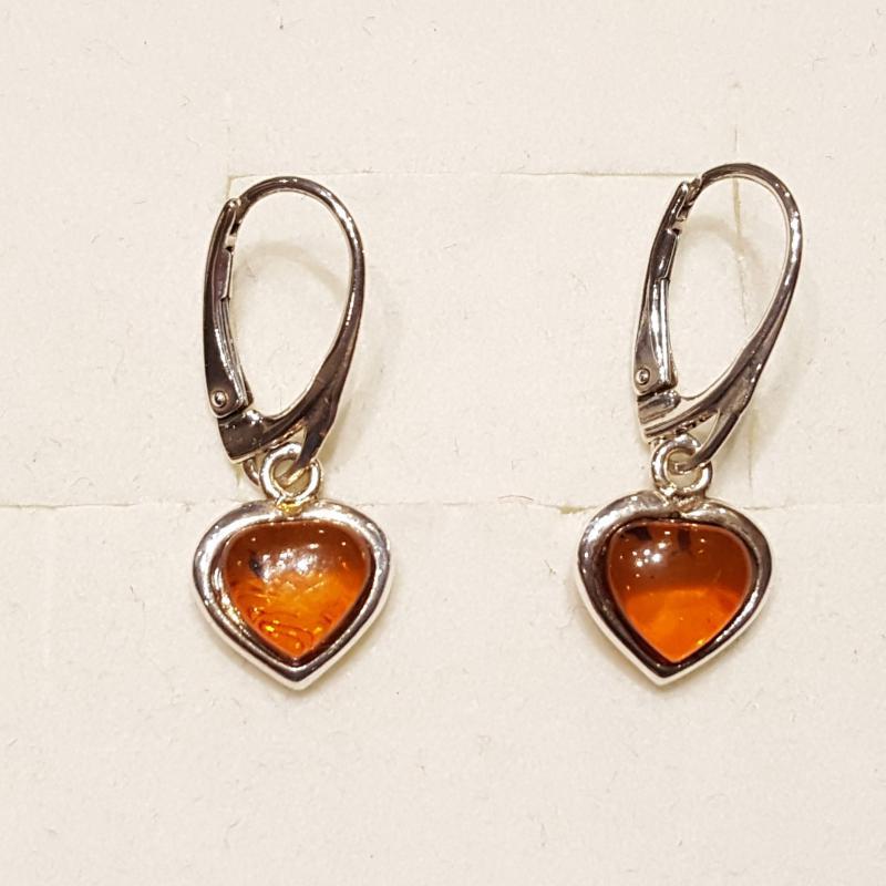 Borostyánköves ezüst fülbevaló szív lengyel Jubilex 129