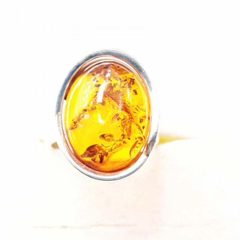 Borostyánköves ezüst gyűrű Jubilex  349