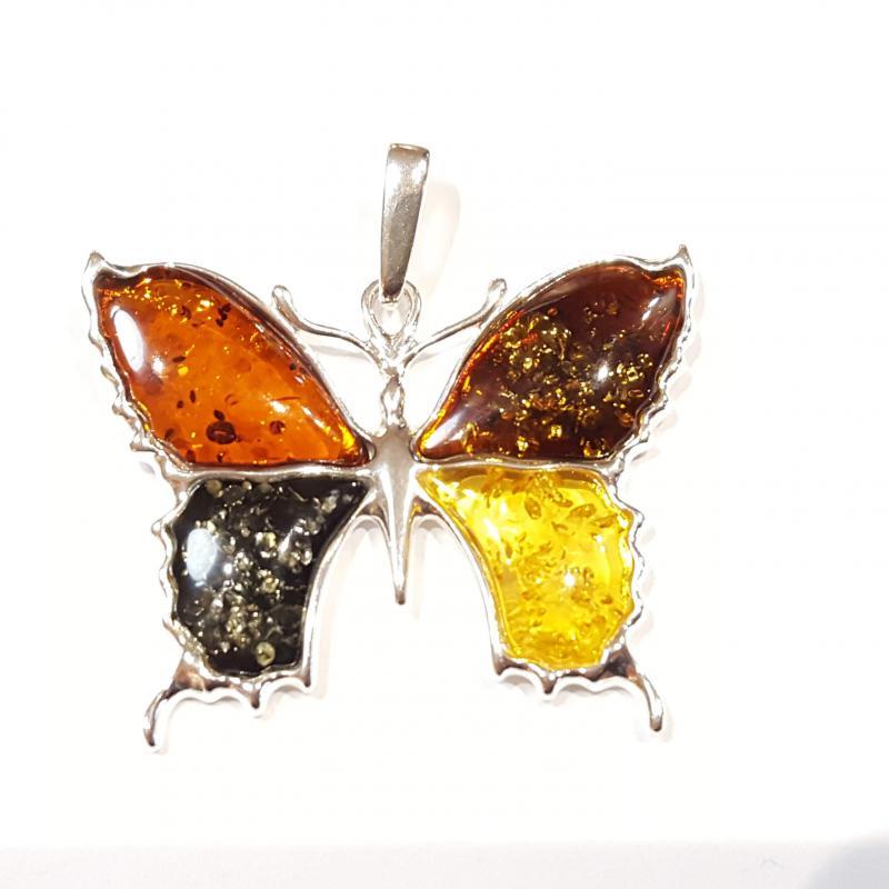 Borostyánköves ezüst medál színes pillangó  Jubilex 439