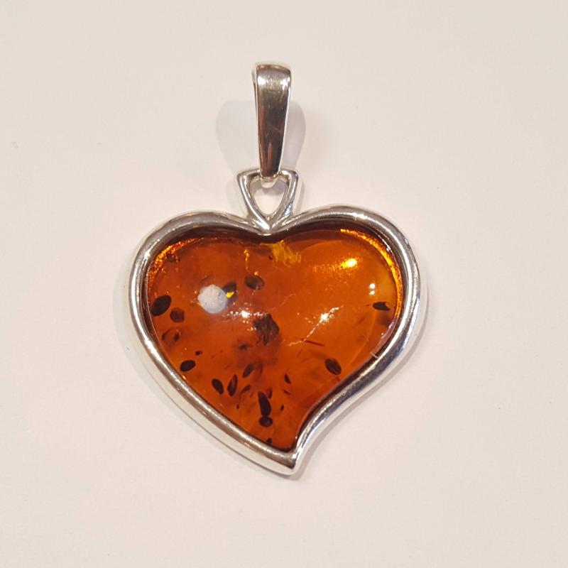 Borostyánköves ezüst medál szív  Jubilex 446
