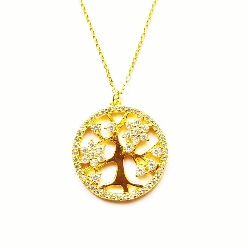 Életfa aranyozott ezüst medál lánccal 45 cm 831