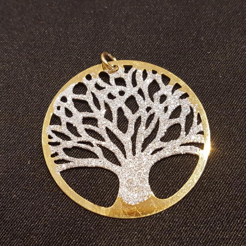 Életfa ezüst medál aranyozott ezüst csillámmal 720