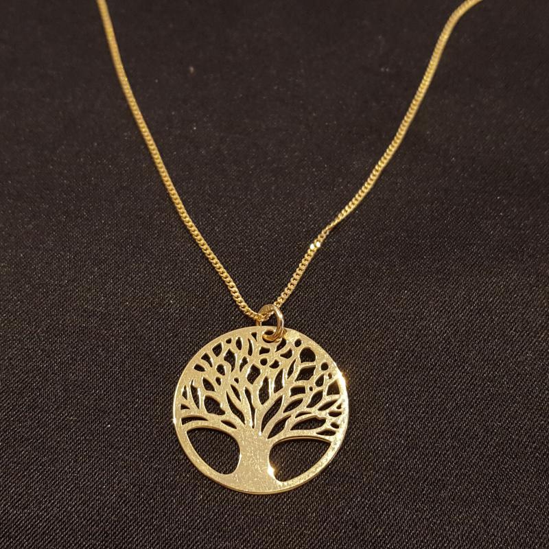 Életfás ezüst medál lánccal aranyozott 50 cm 712
