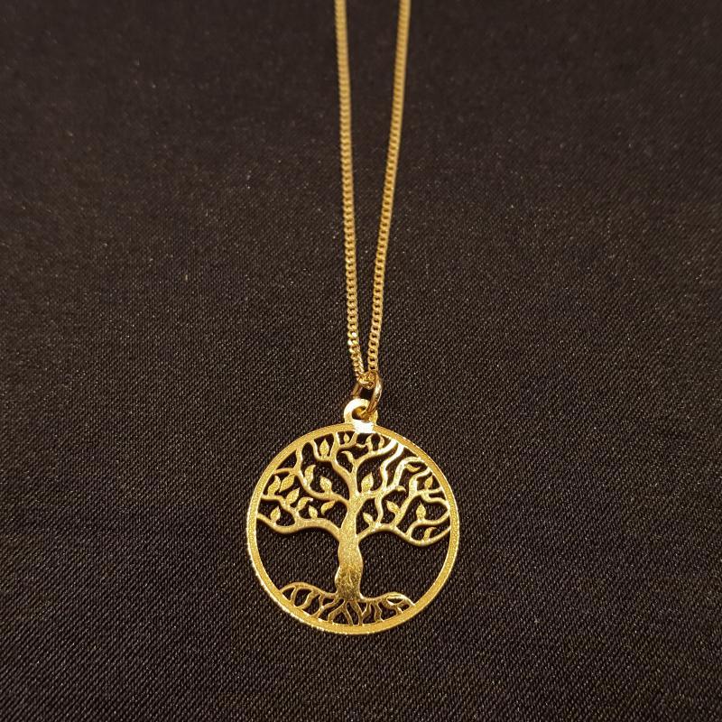 Életfás ezüst medál lánccal aranyozott 50 cm 716