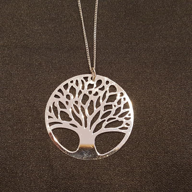 Életfás ezüst medál lánccal ródiumozott 45 cm 702