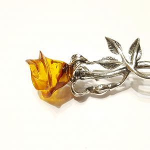 Borostyán rózsa ezüst bross lengyel Jubilex 452