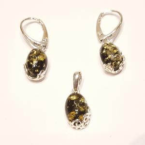 Borostyánköves ezüst fülbevaló és medál szett zöld  Jubilex 814