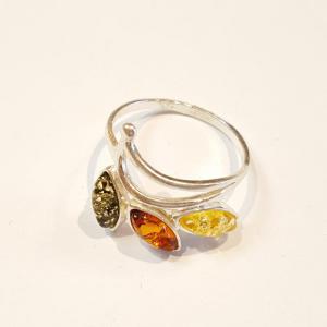 Ezüst gyűrű borostyán kővel lengyel Jubilex  255