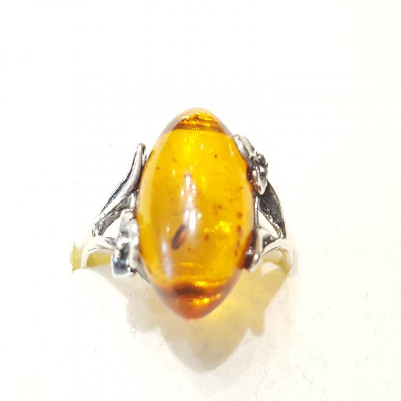 Ezüst gyűrű borostyán kővel lengyel Jubilex  263