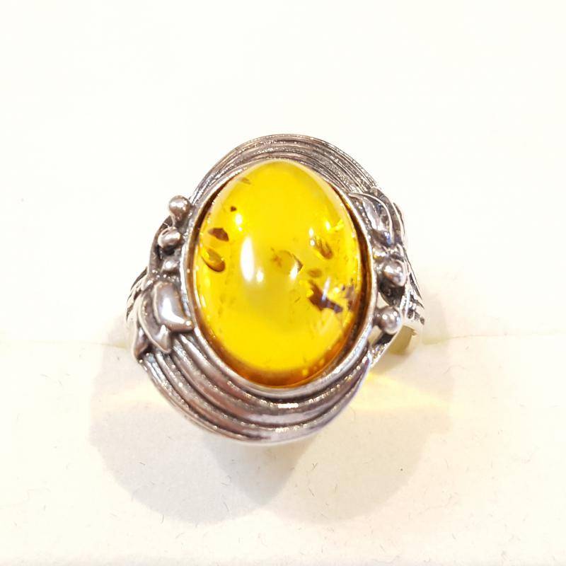 Ezüst gyűrű borostyán kővel lengyel Jubilex 264
