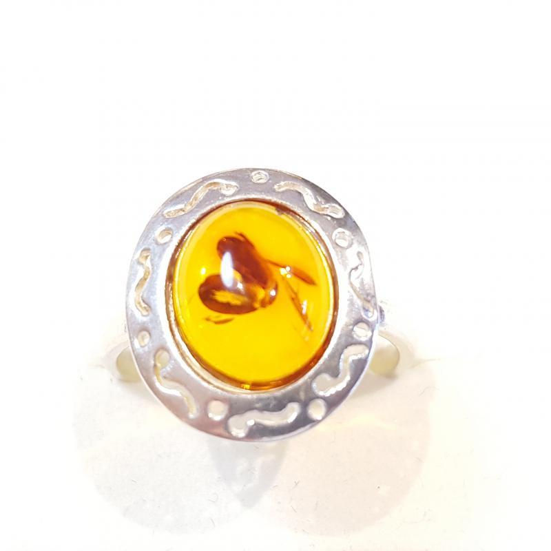 Ezüst gyűrű borostyán kővel lengyel Jubilex  266