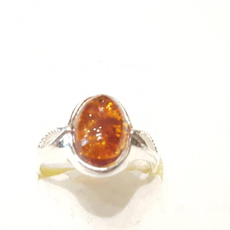 Ezüst gyűrű borostyán kővel lengyel Jubilex  292