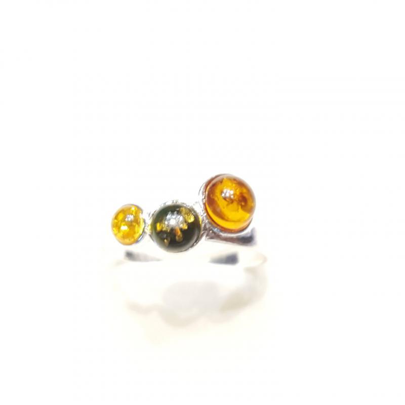 Ezüst gyűrű borostyán kővel lengyel Jubilex  315