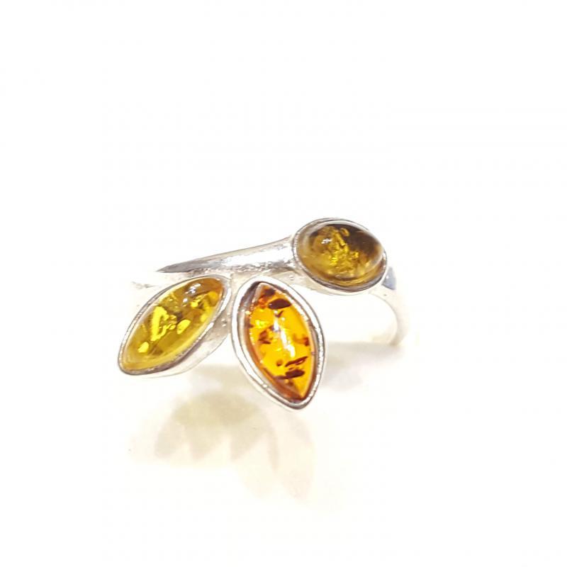 Ezüst gyűrű borostyán kővel lengyel Jubilex  318