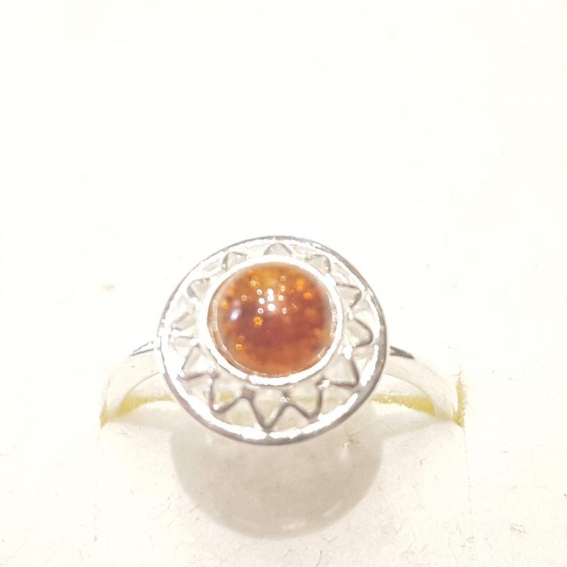 Ezüst gyűrű borostyán kővel lengyel Jubilex  325