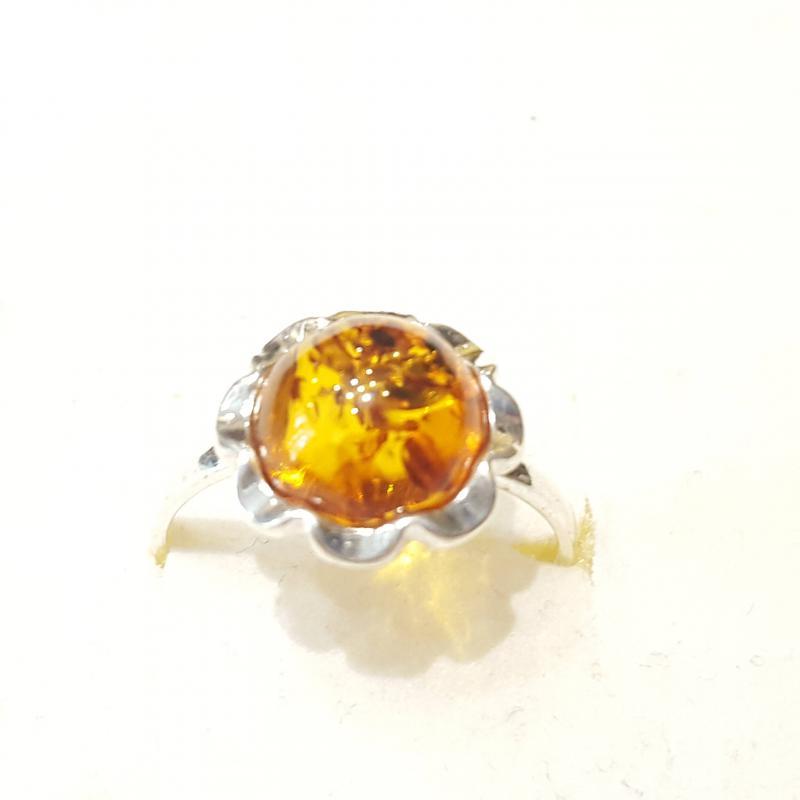Ezüst gyűrű borostyán kővel lengyel Jubilex  326