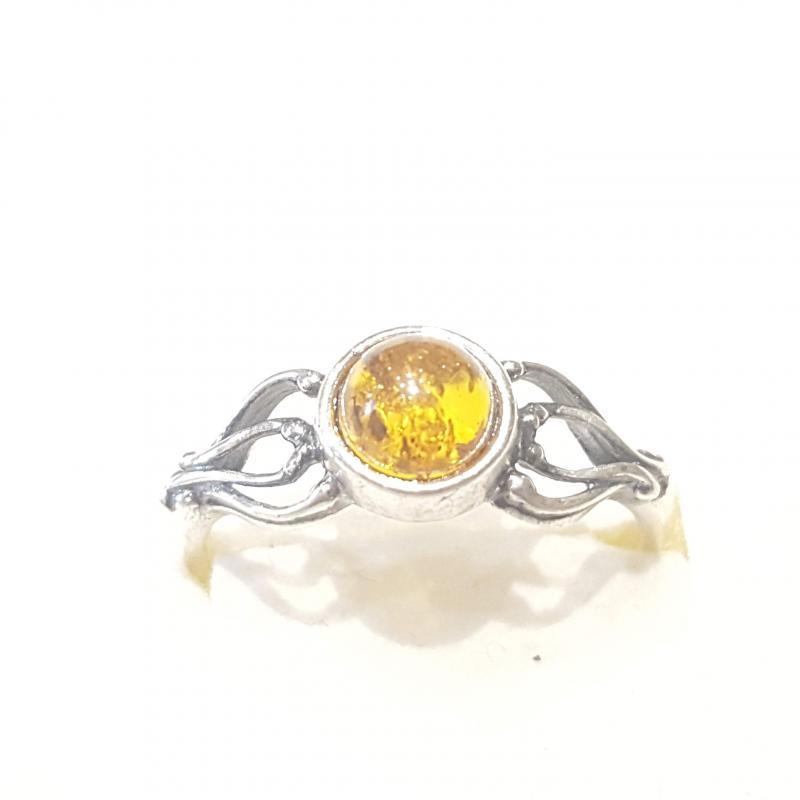 Ezüst gyűrű borostyán kővel lengyel Jubilex  327