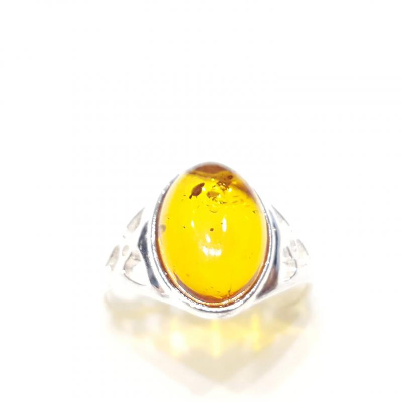 Ezüst gyűrű borostyán kővel lengyel Jubilex  330