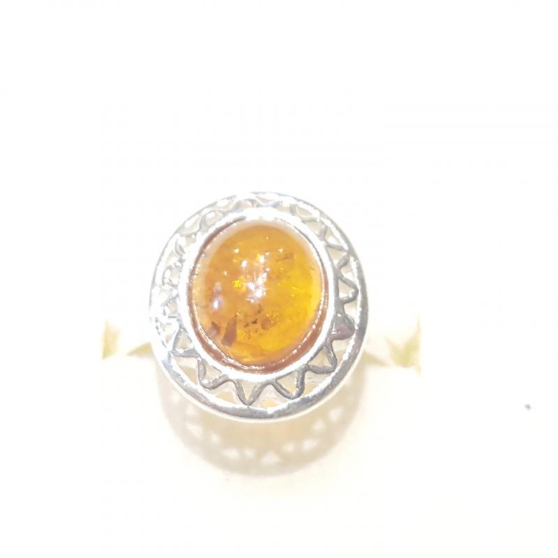 Ezüst gyűrű borostyán kővel lengyel Jubilex  332
