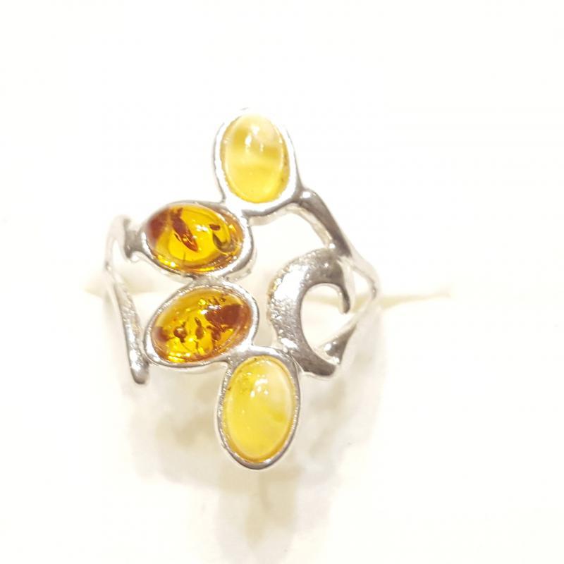 Ezüst gyűrű borostyán kővel lengyel Jubilex  342