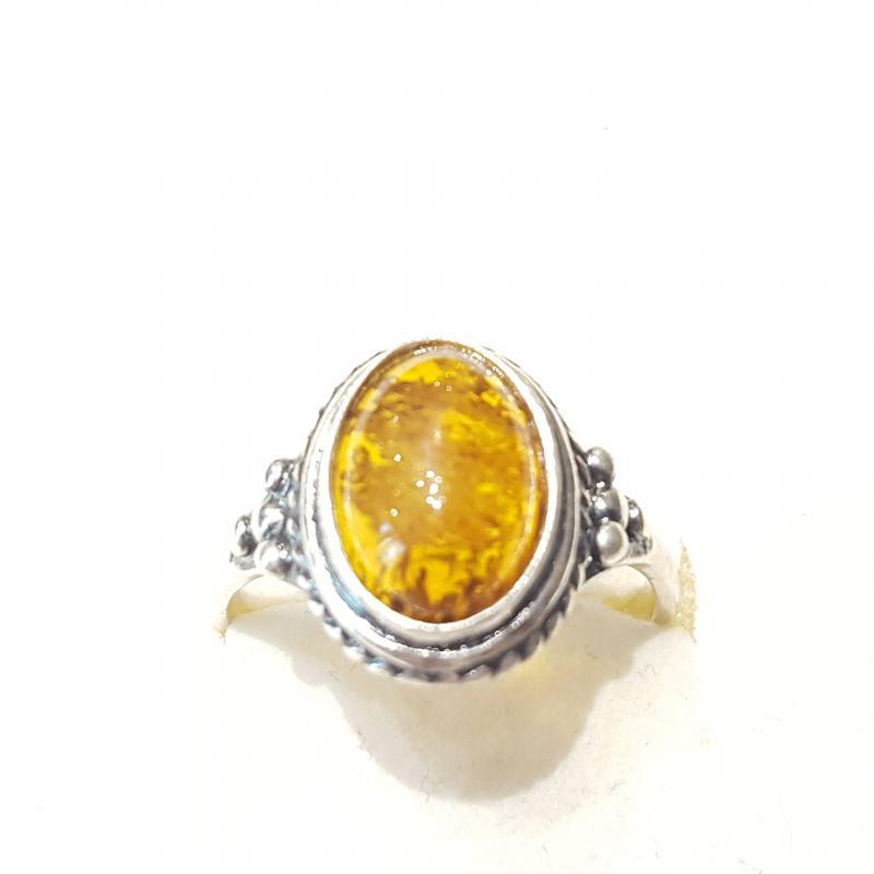 Ezüst gyűrű borostyán kővel lengyel Jubilex  343