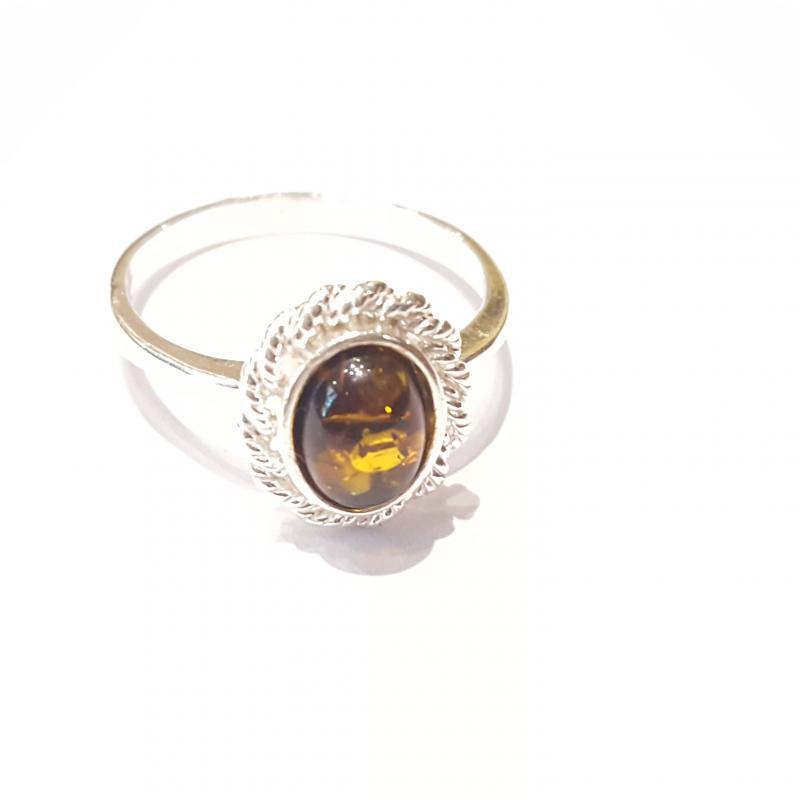Ezüst gyűrű borostyán kővel zöld lengyel Jubilex  260