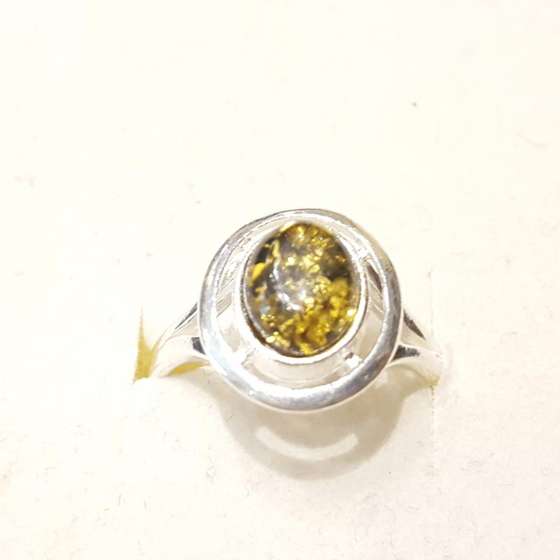 Ezüst gyűrű borostyán kővel zöld lengyel Jubilex  297