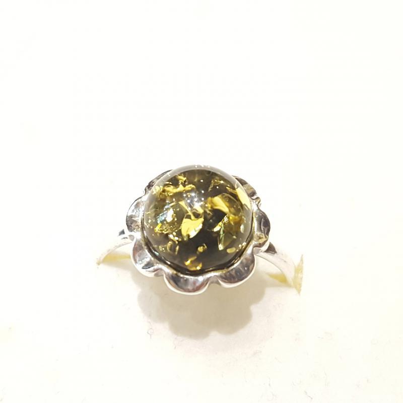 Ezüst gyűrű borostyán kővel zöld lengyel Jubilex  322
