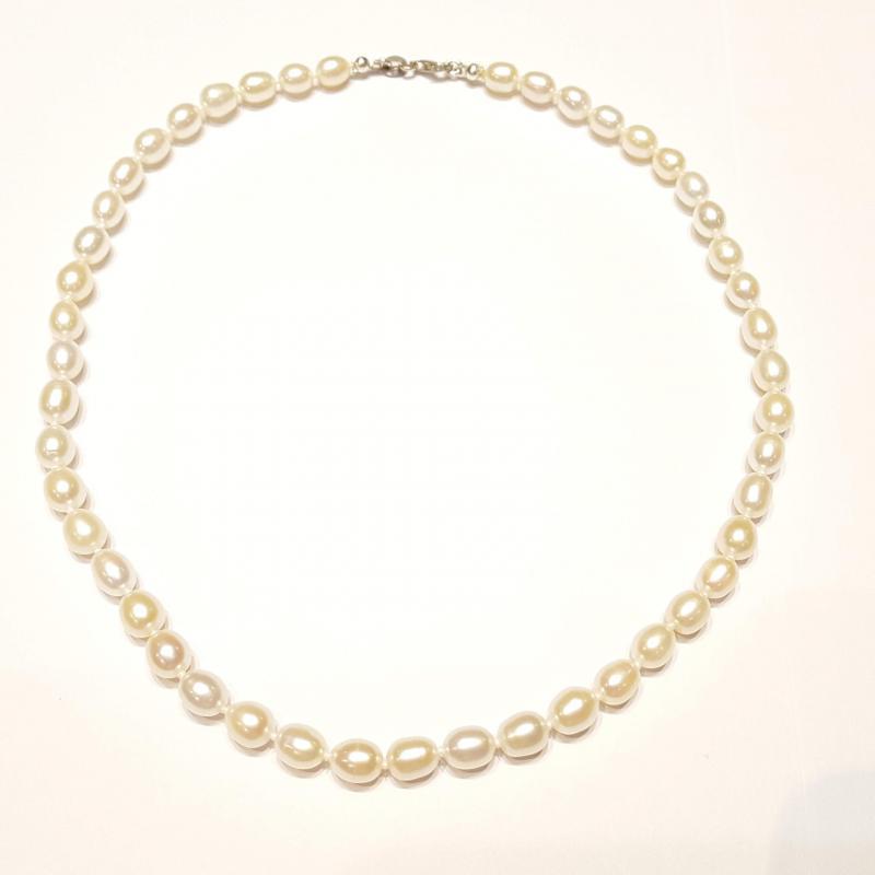 Igazgyöngy nyakék gyöngysor édesvízi tenyésztett gyöngy fehér 133