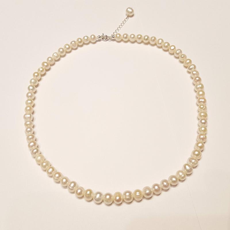 Igazgyöngy nyakék gyöngysor édesvízi tenyésztett gyöngy fehér 138