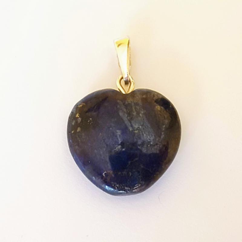 Lápisz lazuli medál szív ezüst akasztóval 236