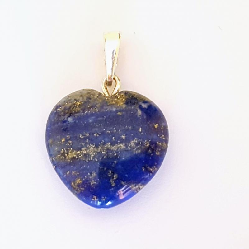 Lápisz lazuli medál szív ezüst akasztóval 238