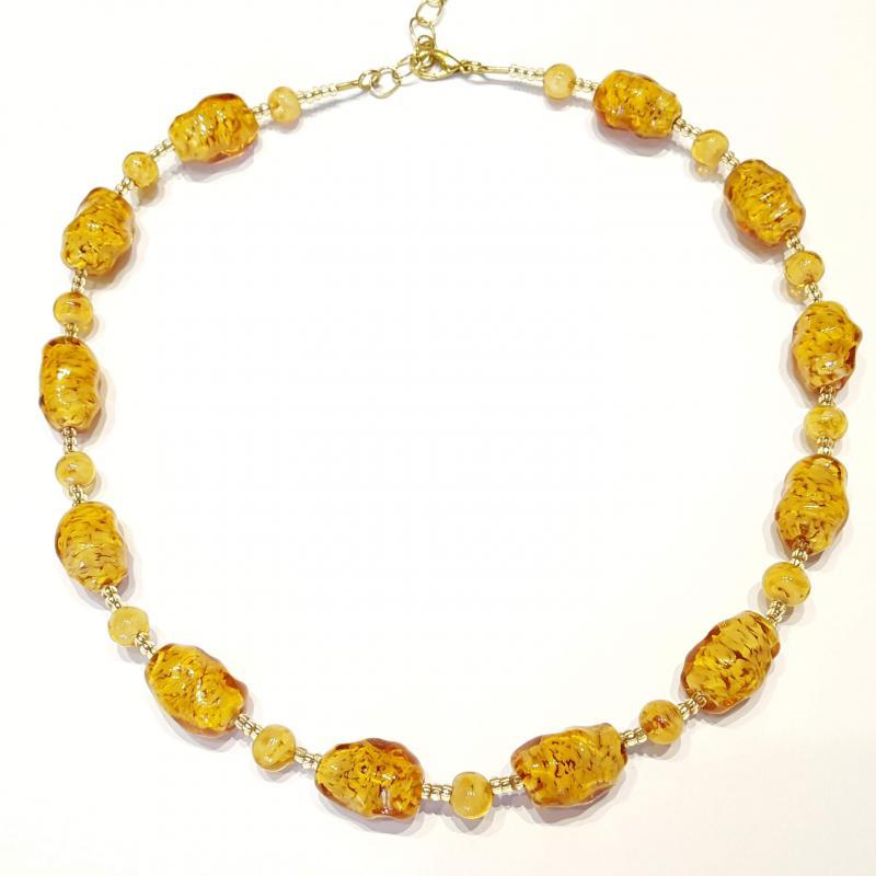 Muránói üveg nyakék nyaklánc gyöngyök 701