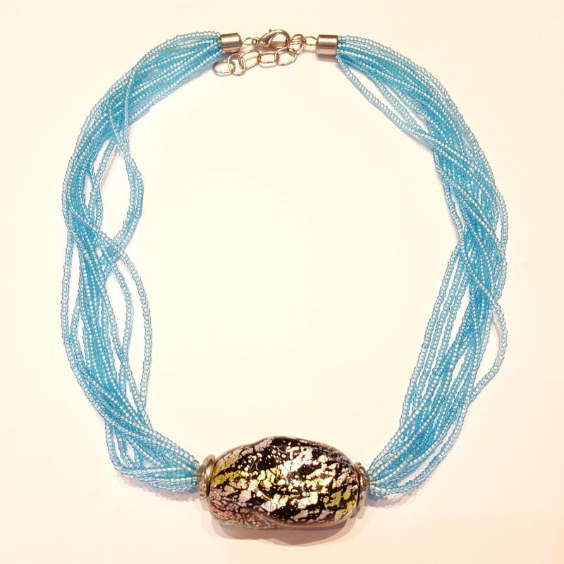 Muránói üveg nyakék nyaklánc gyöngyök 705