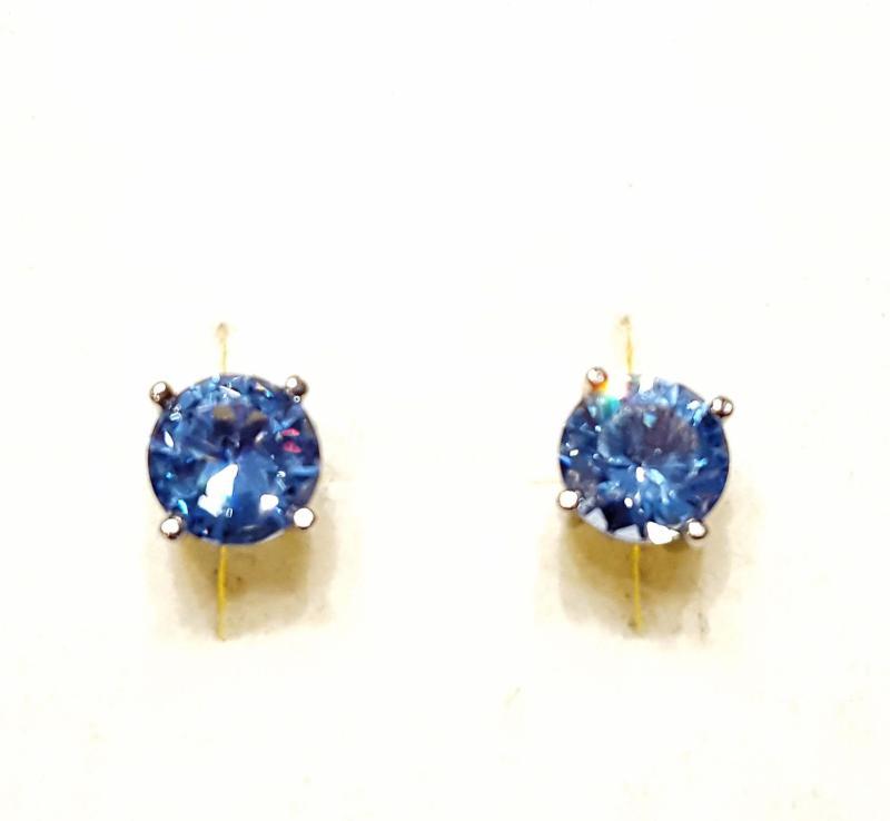 Ródiumozott ezüst fülbevaló kék topázzal 106