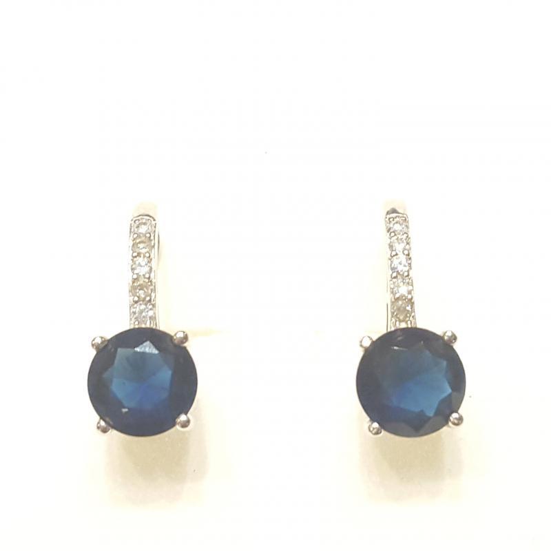 Ródiumozott ezüst fülbevaló kék zafirral 250