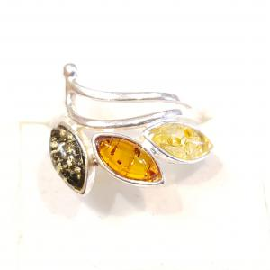 Ezüst gyűrű borostyán kővel lengyel Jubilex 56-os 255
