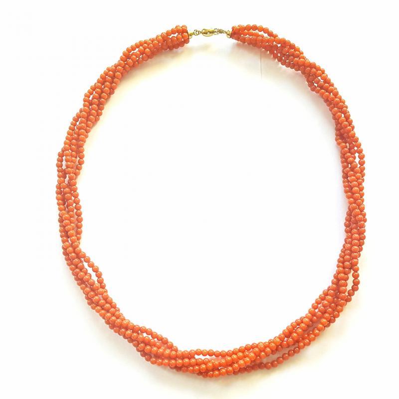 Vörös nemeskorall gyöngy nyakék ródiumozott ezüst zárral 825