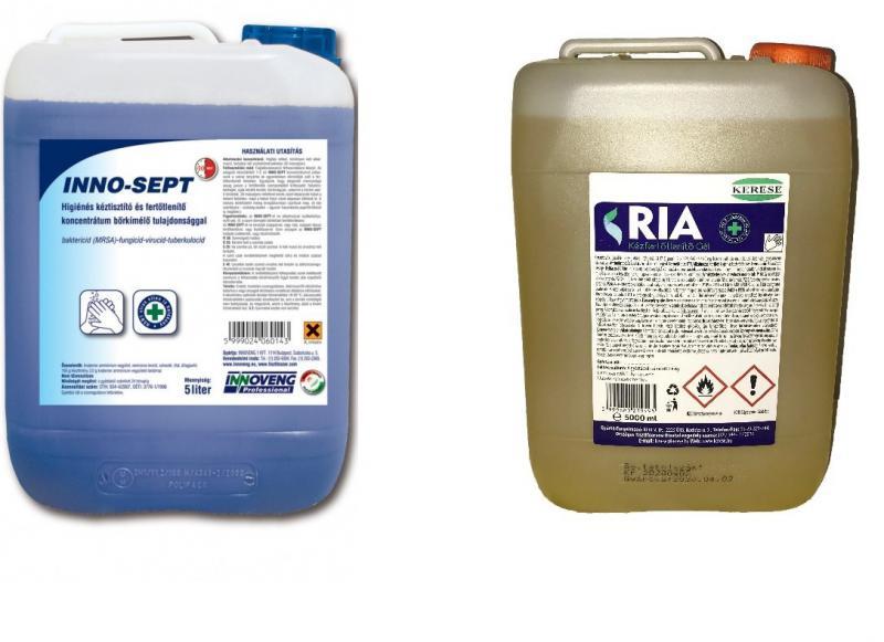 Inno-Sept ferőtlenitő szappan & RIA alkoholos fertőtlenitő gél csomag 5-5 L.