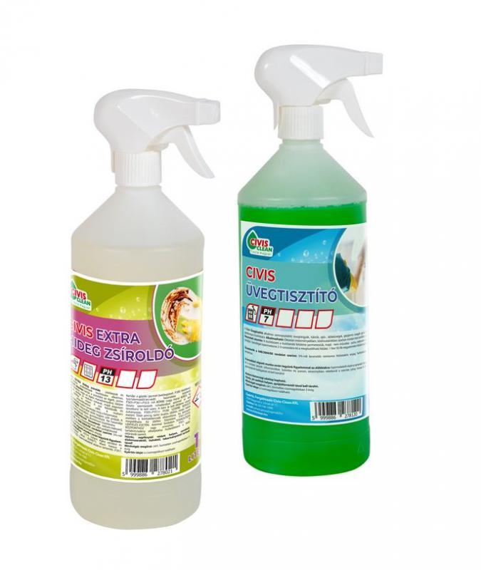 Üvegtisztító & Extra hideg zsíroldó csomag