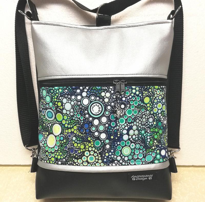 Mandala mintás 3in1 textilbőr hátizsák fekete kékkel