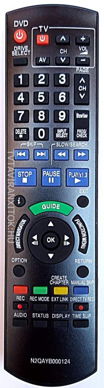 N2QAYB000125/124 UTÁNGYÁRTOTT PANASONIC HDD DVD TÁVIRÁNYÍTÓ