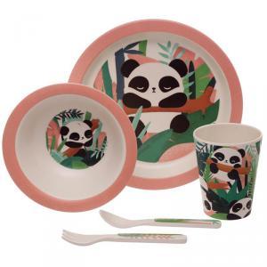 Természetes Bambusz gyerek étkészlet-Panda