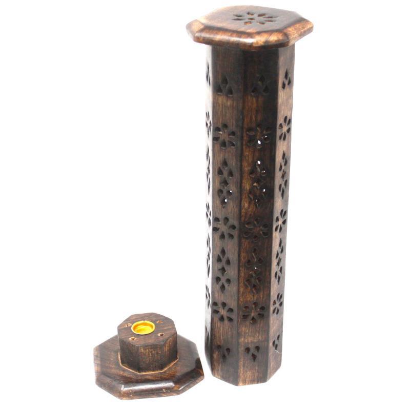 Füstölőtartó - Torony Shesham Hexagonális