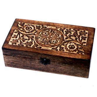 Illóolaj tároló doboz, Mangófából , 32 Üvegcséhez