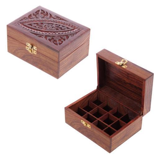Illóolaj tároló doboz, Sheesham Fából , 12 Üvegcséhez