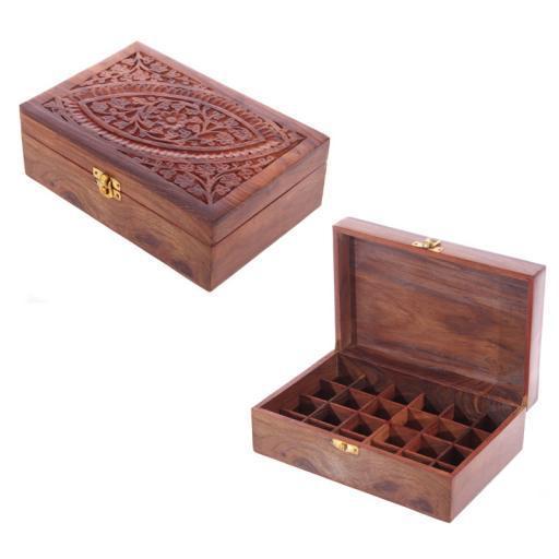 Illóolaj tároló doboz, Sheesham Fából , 24 Üvegcséhez