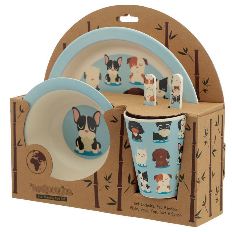 Kutya -Természetes Bambusz gyerek étkészlet