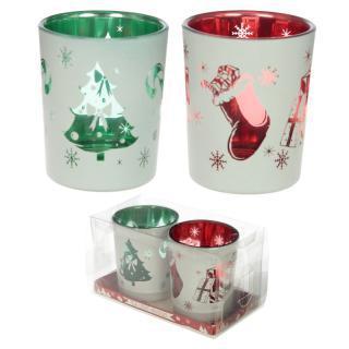 Mécsestartó pohárszett (2 db) Karácsonyi Figurák + ajándék teamécses